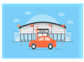 Drawing of an orange car in front of a white building and blue background. prowomenschoicedirectory.com